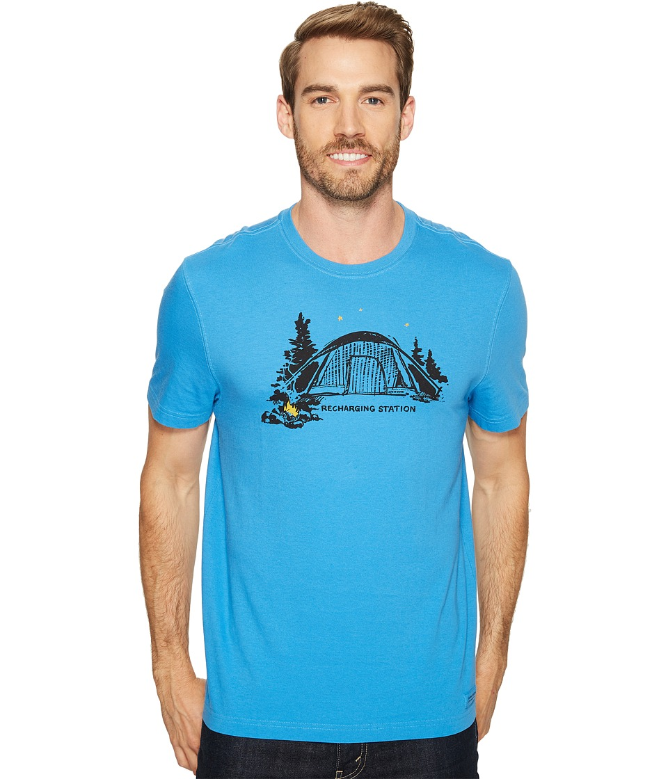 Life is Good Recharge Station Tent Crusher Tee (Marina Blue) Men