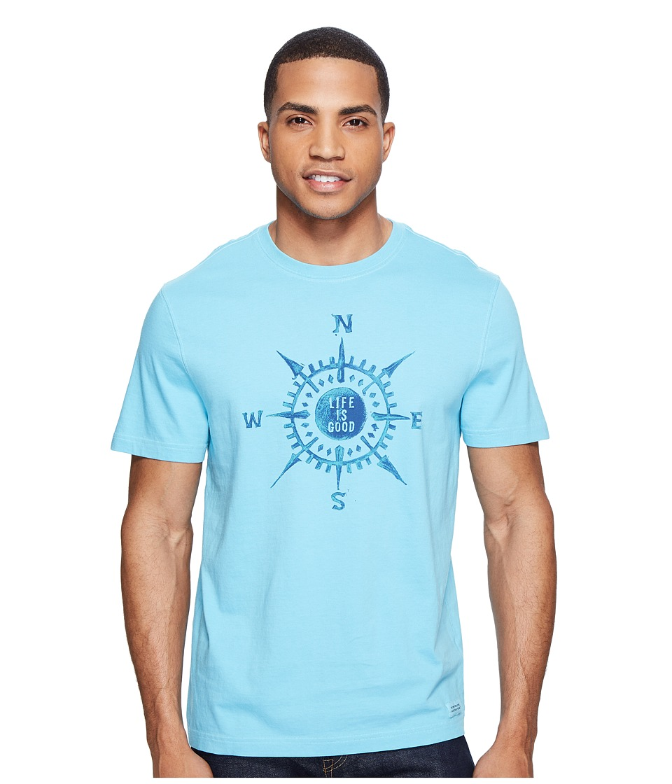 Life is good Compass Painted Crusher Tee (Bleached Blue) Men