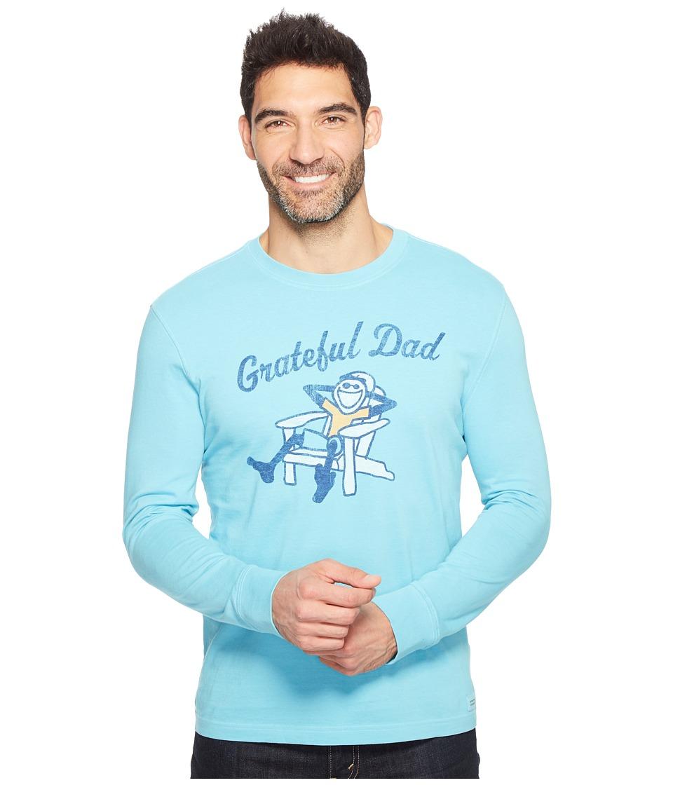 Life is Good Grateful Dad Adirondack Long Sleeve Crusher Tee (Bleached Blue) Men