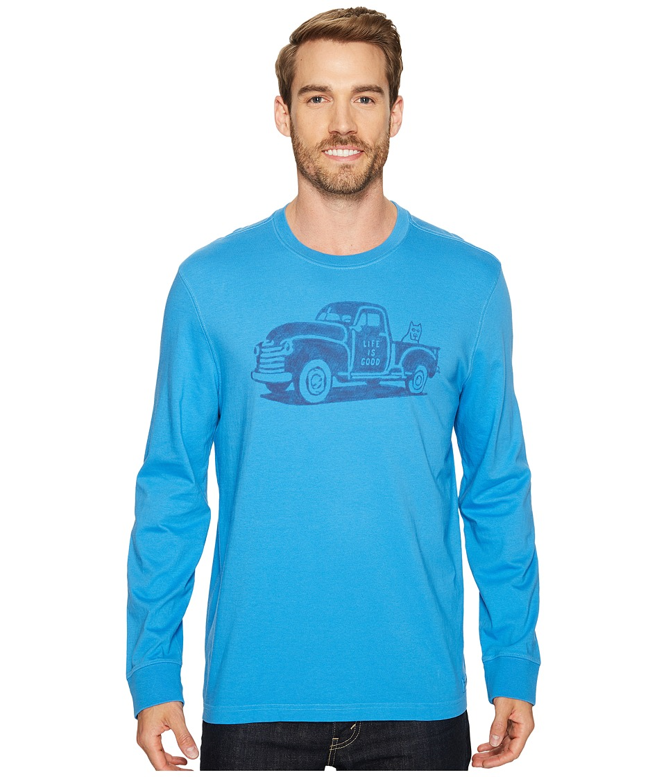 Life is Good Old School Truck Long Sleeve Crusher Tee (Bleached Blue) Men