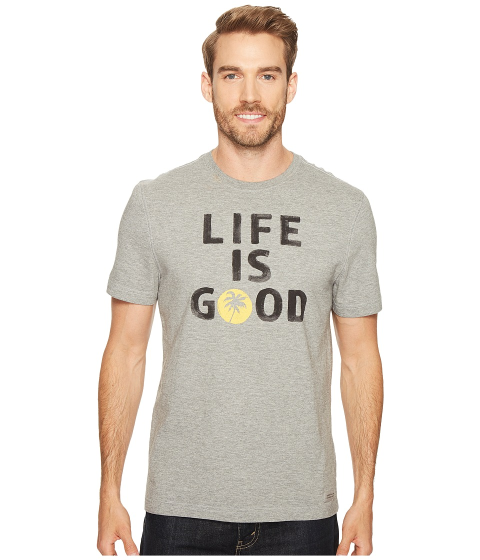 Life is Good Palm Tree Crusher Tee (Heather Gray) Men