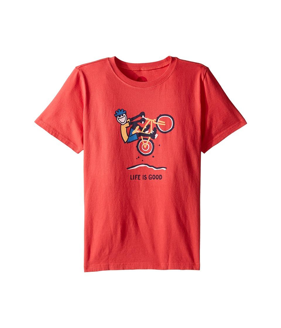 Life is good Kids Mountain Bike Tee (Little Kids/Big Kids) (Americana Red) Boy