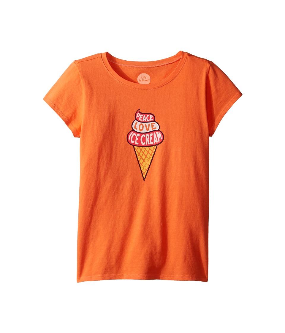 Life is good Kids Peace Love Ice Cream Tee (Little Kids/Big Kids) (Tropical Orange) Girl
