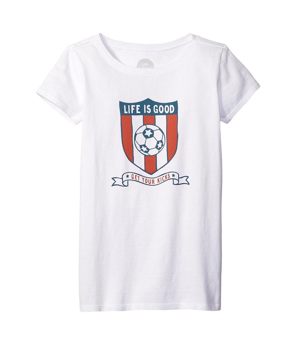 Life is good Kids Soccer Shield Tee (Little Kids/Big Kids) (Cloud White) Girl