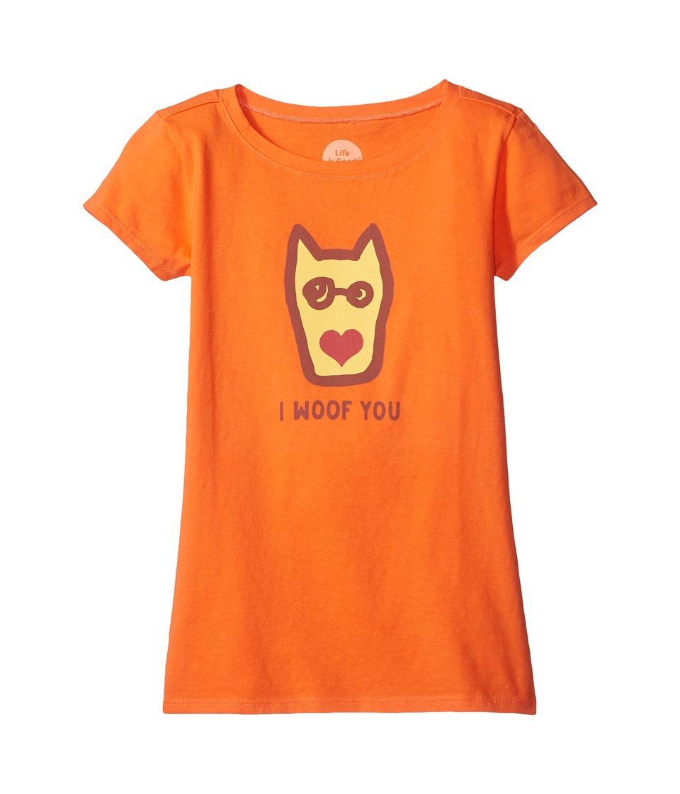 Life is good Kids I Woof You Tee (Little Kids/Big Kids) (Tropical Orange) Girl