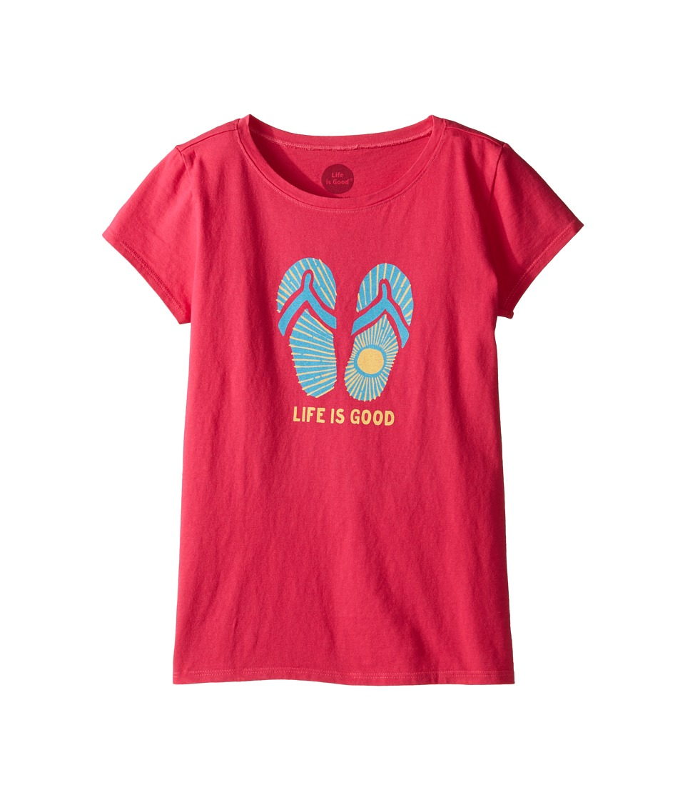 Life is good Kids Sunshine Flip Flops Tee (Little Kids/Big Kids) (Pop Pink) Girl
