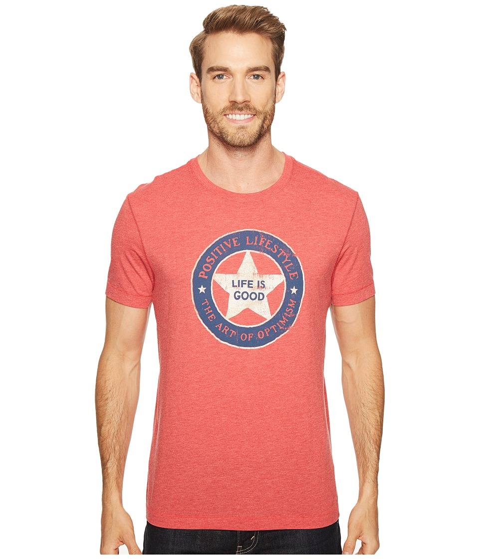Life is Good Positive Lifestyle Cool Tee (Americana Red) Men