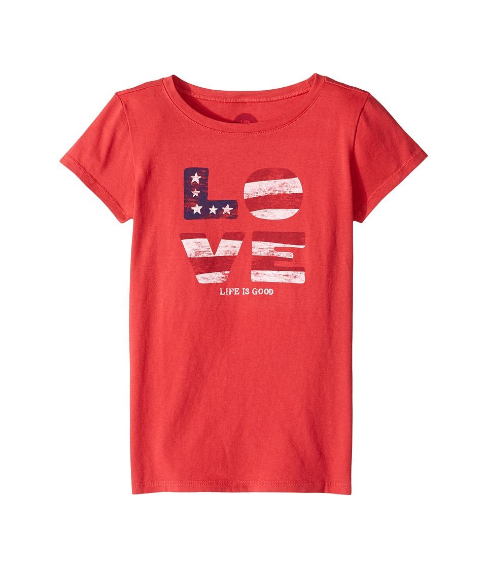Life is good Kids Love Flag Crusher Tee (Little Kids/Big Kids) (Americana Red) Girl