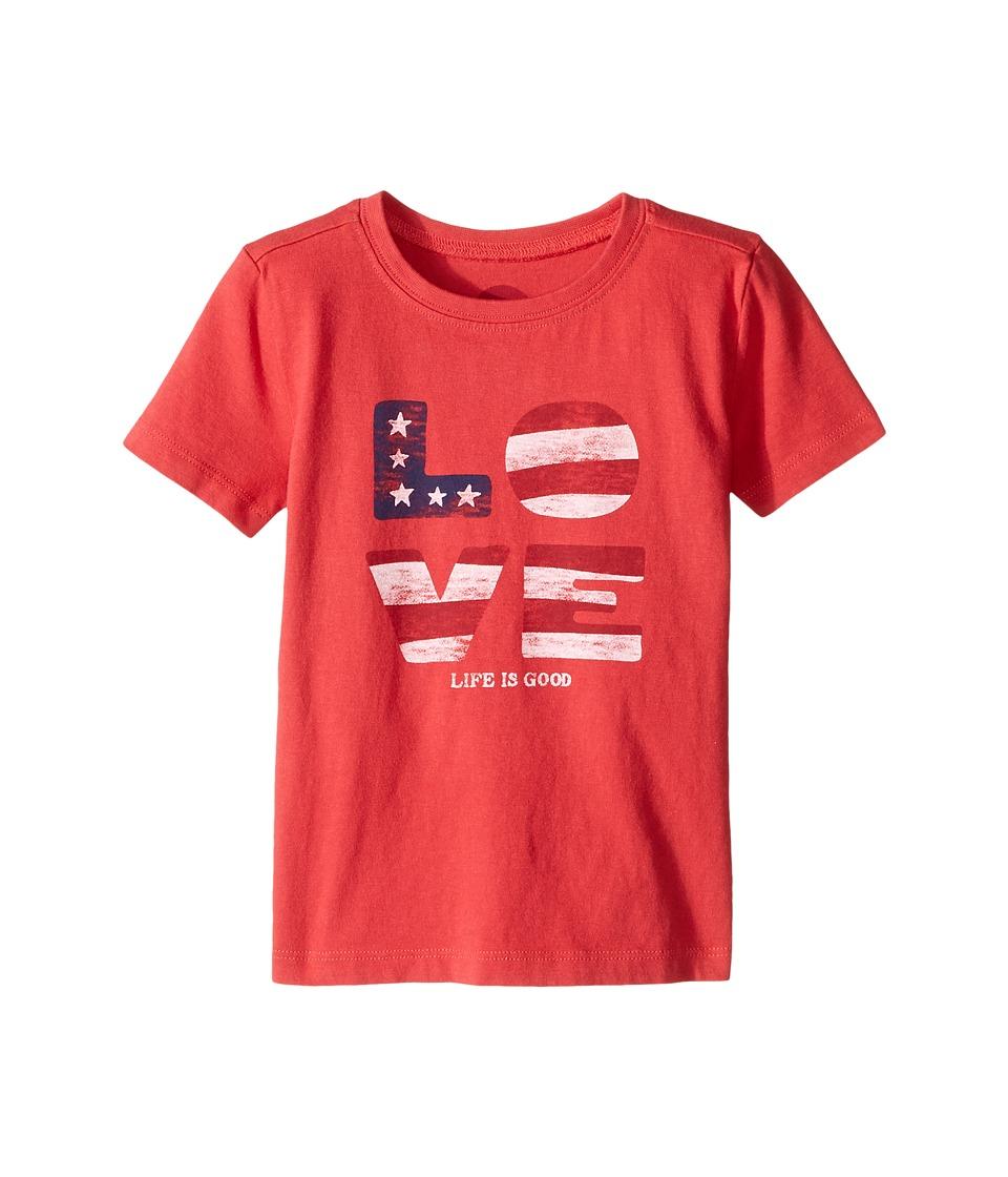 Life is good Kids Love Flag Crusher Tee (Toddler) (Americana Red) Girl