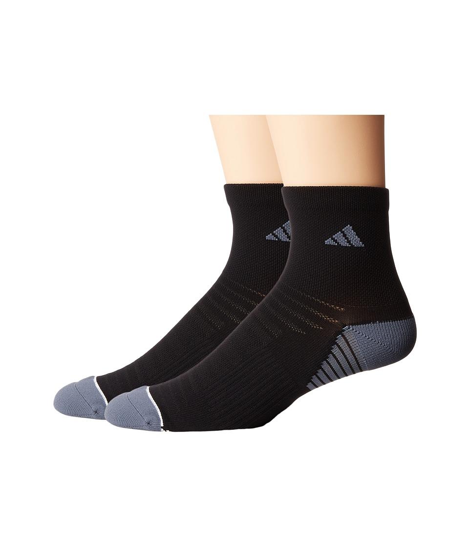 adidas - Superlite Speed Mesh 2-Pack Quarter Socks (Black/Onix/White) Mens Quarter Length Socks Shoes