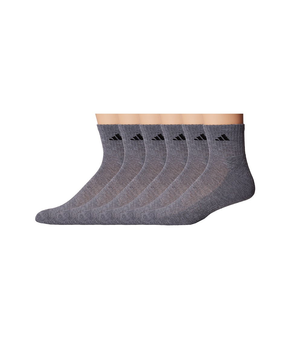 adidas - Athletic 6-Pack Quarter Socks (Heather Grey/Black) Mens Quarter Length Socks Shoes