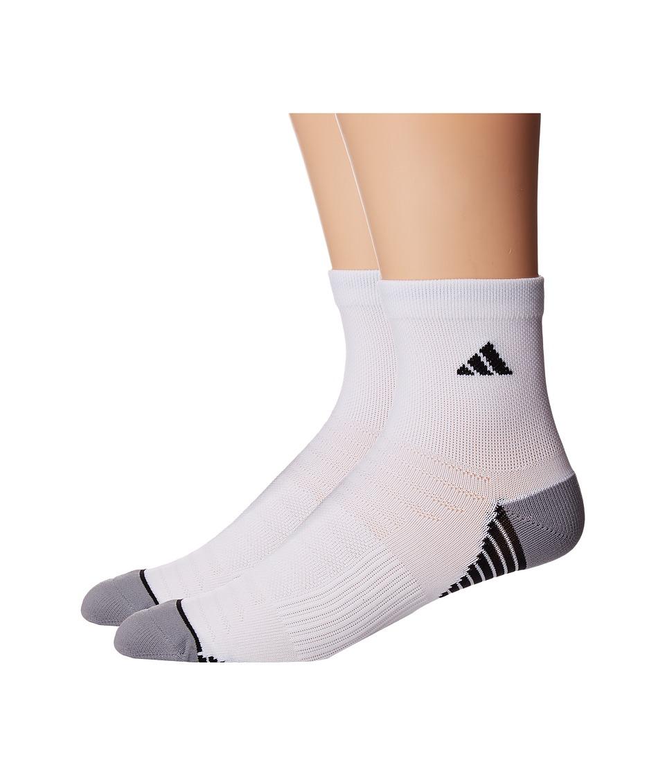 adidas - Superlite Speed Mesh 2-Pack Quarter Socks (White/Black/Light Onix) Men's Quarter Length Socks Shoes