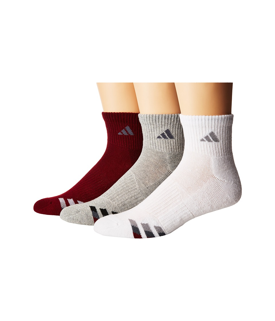adidas - Cushioned Color 3-Pack Quarter (Collegiate Burgundy/Onix Heather Grey/Collegiate Burgundy/White/) Men's Quarter Length Socks Shoes