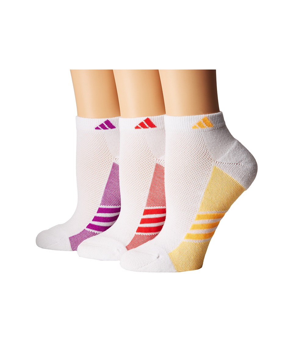 adidas - Climacool Superlite Low Cut Socks 3-Pack (White/Shock Purple/Core Pink/Solar Gold) Women's Low Cut Socks Shoes