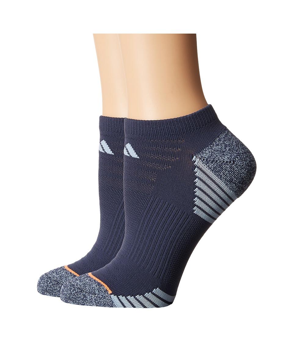 adidas - Superlite Speed Mesh 2-Pack No Show Socks (Midnight Grey/Easy Blue/Grey Marl/Glow Orange) Womens No Show Socks Shoes