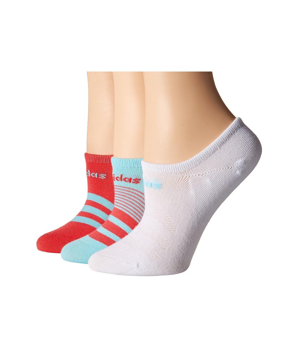 adidas - Superlite Super No Show Socks 3-Pack (Clear Aqua/Core Pink/White) Women's No Show Socks Shoes