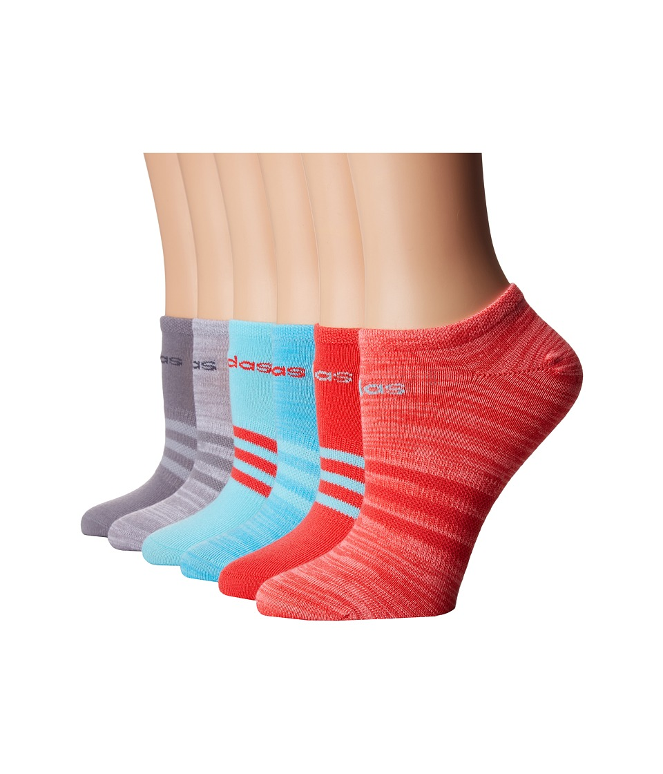 adidas - Superlite 6-Pack No Show (Core Pink/Clear Aqua/Core Pink/Light Flash Red Space Dye/Light O) Women's No Show Socks Shoes