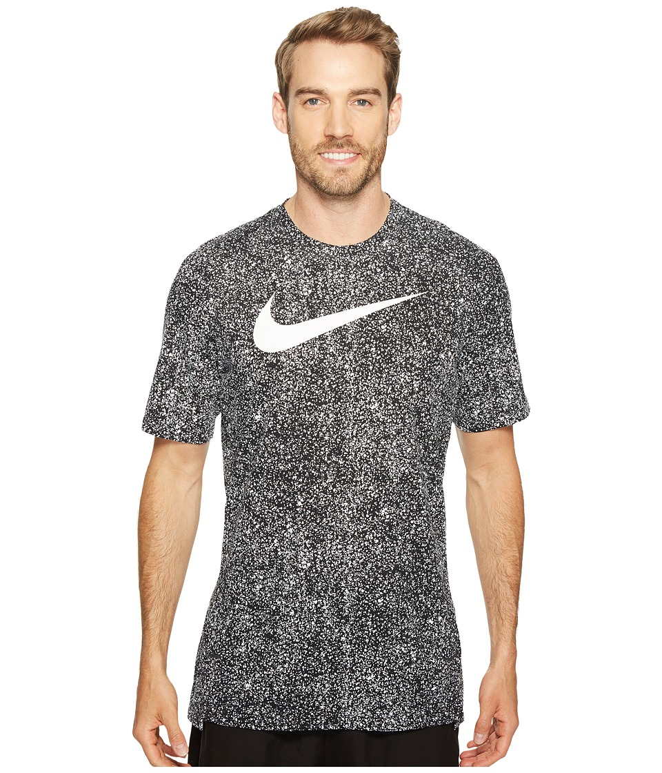 Nike Breathe Elite Print Basketball Tee (Black/White/Black/White) Men