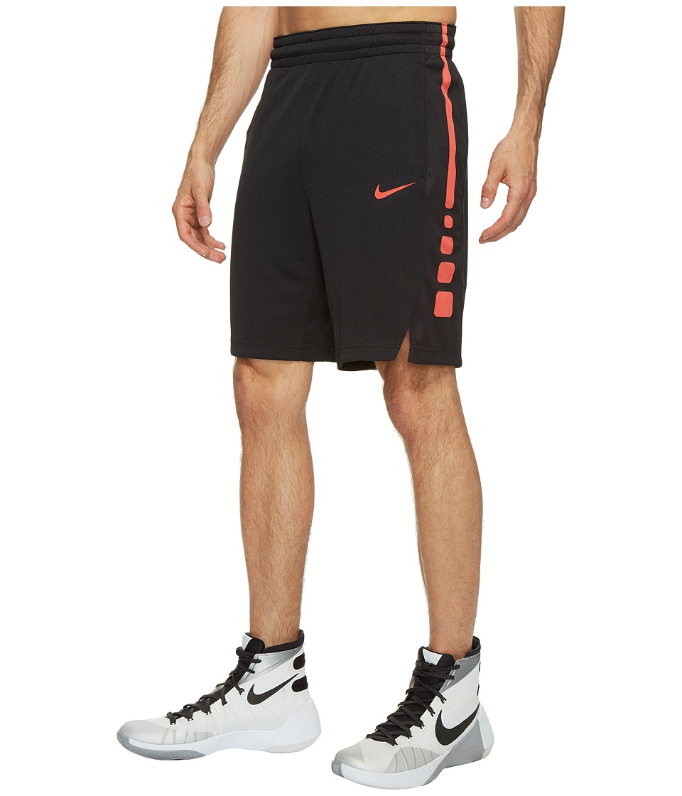 Nike Elite Stripe Basketball Short (Black/Black/Track Red/Track Red) Men