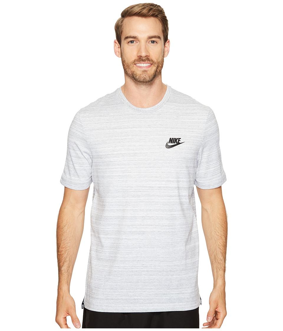 Nike Sportswear Advance 15 Short Sleeve Knit Top (White/Heather/Black) Men