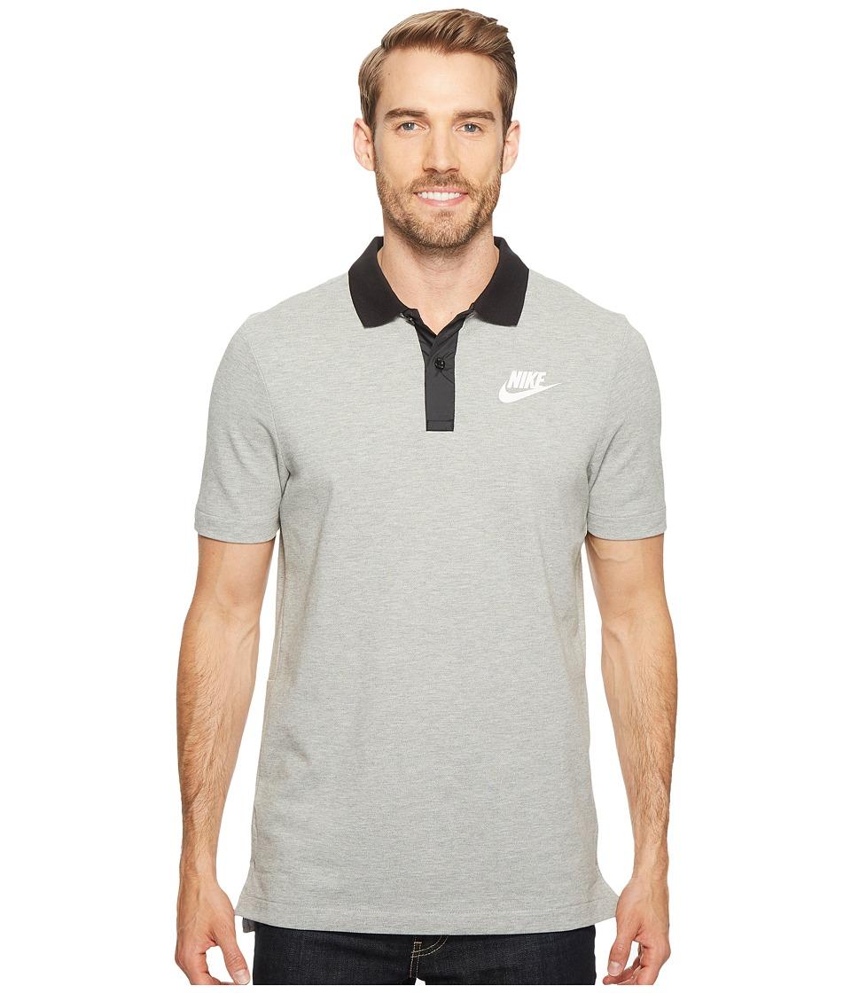 Nike - Sportswear Advance 15 Polo (Dark Grey Heather/Black/White) Men's Clothing