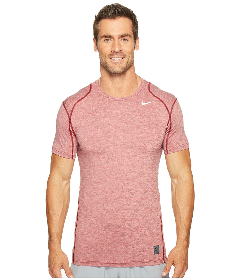 Nike Pro Cool Fitted Heather Top (Team Red/Team Red/White) Men