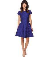 Badgley Mischka - Cap Sleeve Jacquard Flare Dress