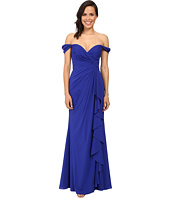 Badgley Mischka - Off The Shoulder Silk Ruffle Front Gown