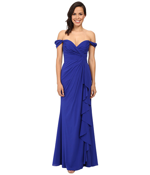 Badgley Mischka - Off The Shoulder Silk Ruffle Front Gown (Electric Blue) Women's Dress