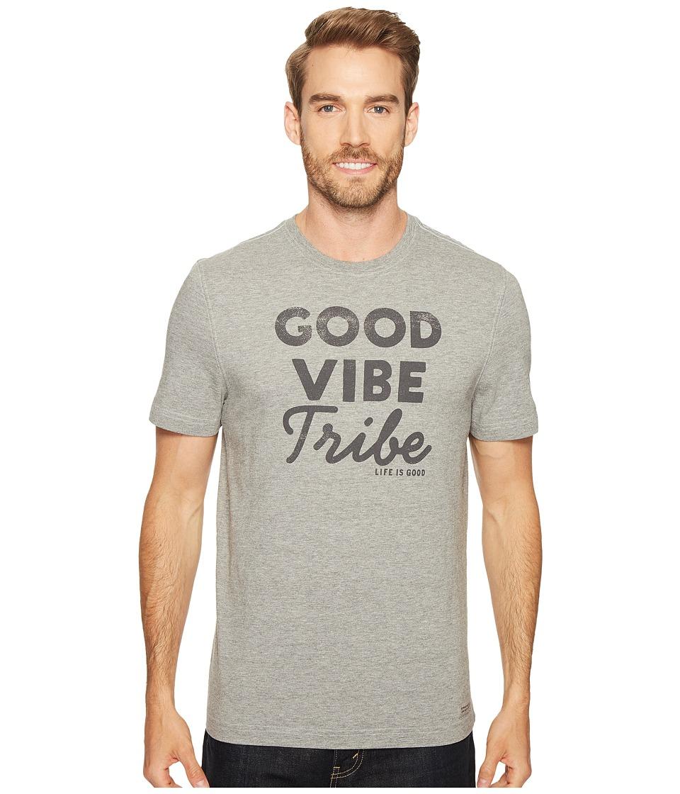 Life is Good Good Vibe Tribe Crusher Tee (Heather Gray) Men