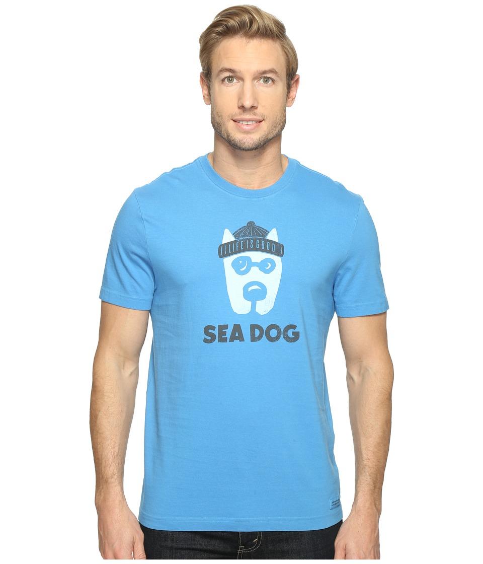 Life is Good Sea Dog Crusher Tee (Marina Blue) Men
