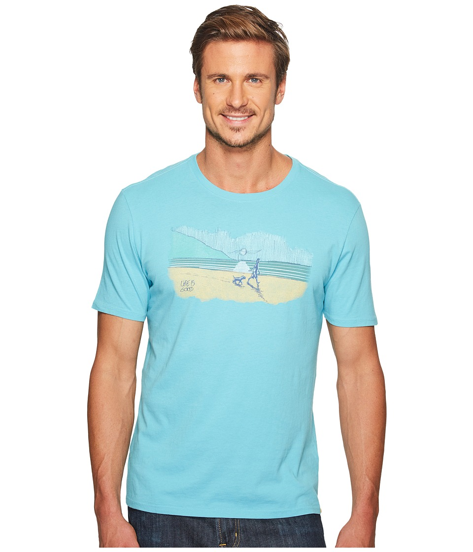 Life is Good Dog Walk Smooth Tee (Bleached Blue) Men