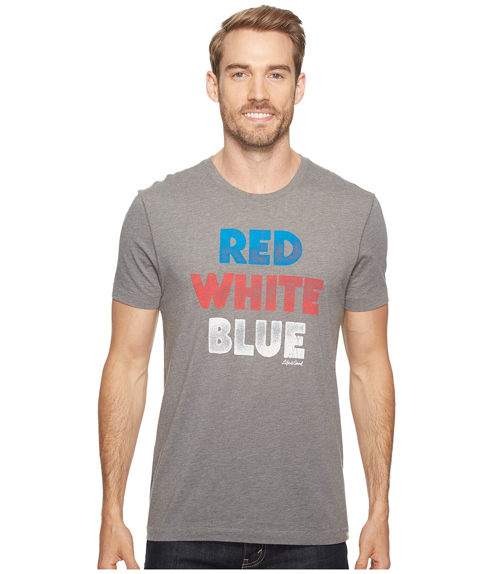 Life is Good Red White Blue Cool Tee (Slate Gray) Men
