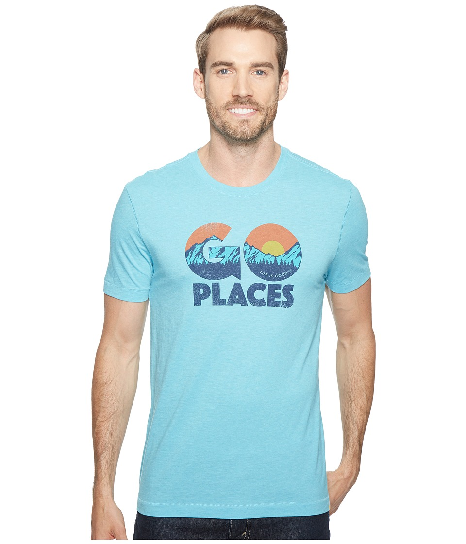 Life is Good Go Places Cool Tee (Bleached Blue) Men