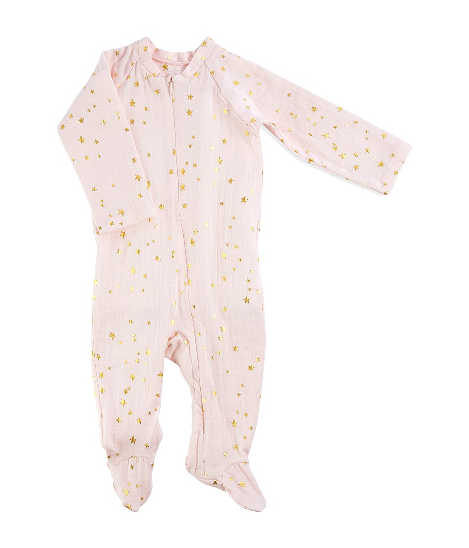 aden + anais - Long Sleeve Zipper One-Piece (Infant) (Metallic Primrose/Starburst) Girls Jumpsuit & Rompers One Piece