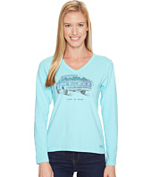 Life is Good - Flower Truck Long Sleeve Crusher Vee