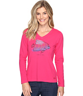 Life is good - Tropical Fish Engraved Long Sleeve Crusher Vee