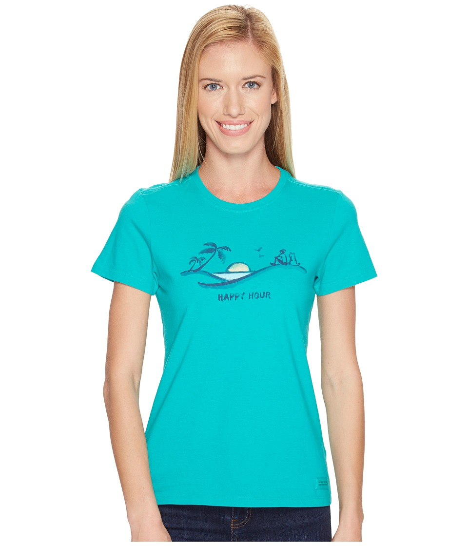 Life is good Happy Hour Beach Crusher Tee (Bright Teal) Women