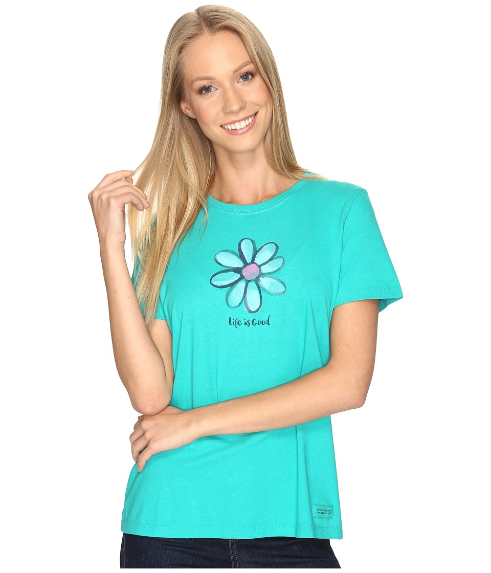 Life is good Daisy Crusher Tee (Bright Teal) Women