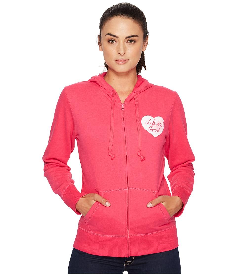 Life is Good Heart Go-To Zip Hoodie (Pop Pink) Women