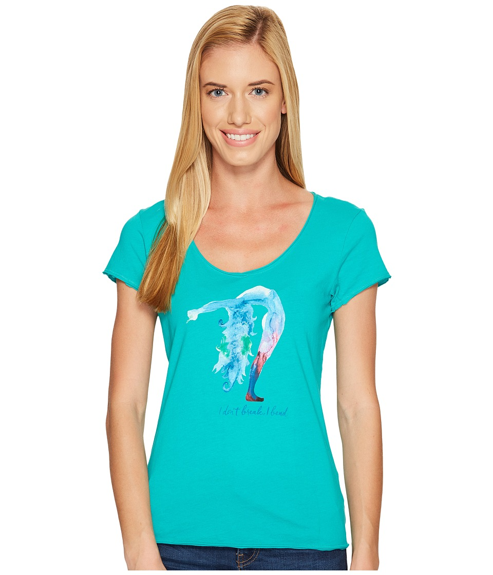 Life is good Bend Yoga Smooth Tee (Bright Teal) Women
