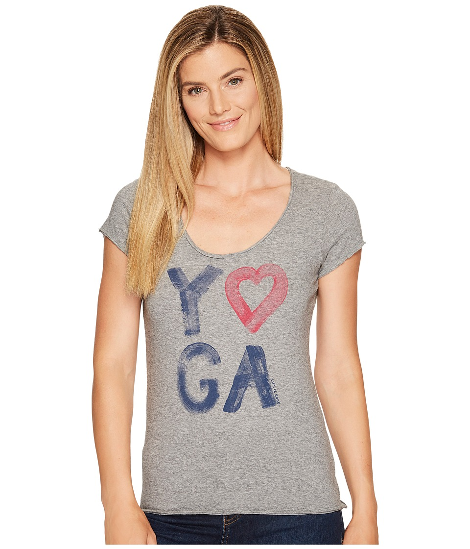 Life is Good Yoga Heart Smooth Tee (Heather Gray) Women