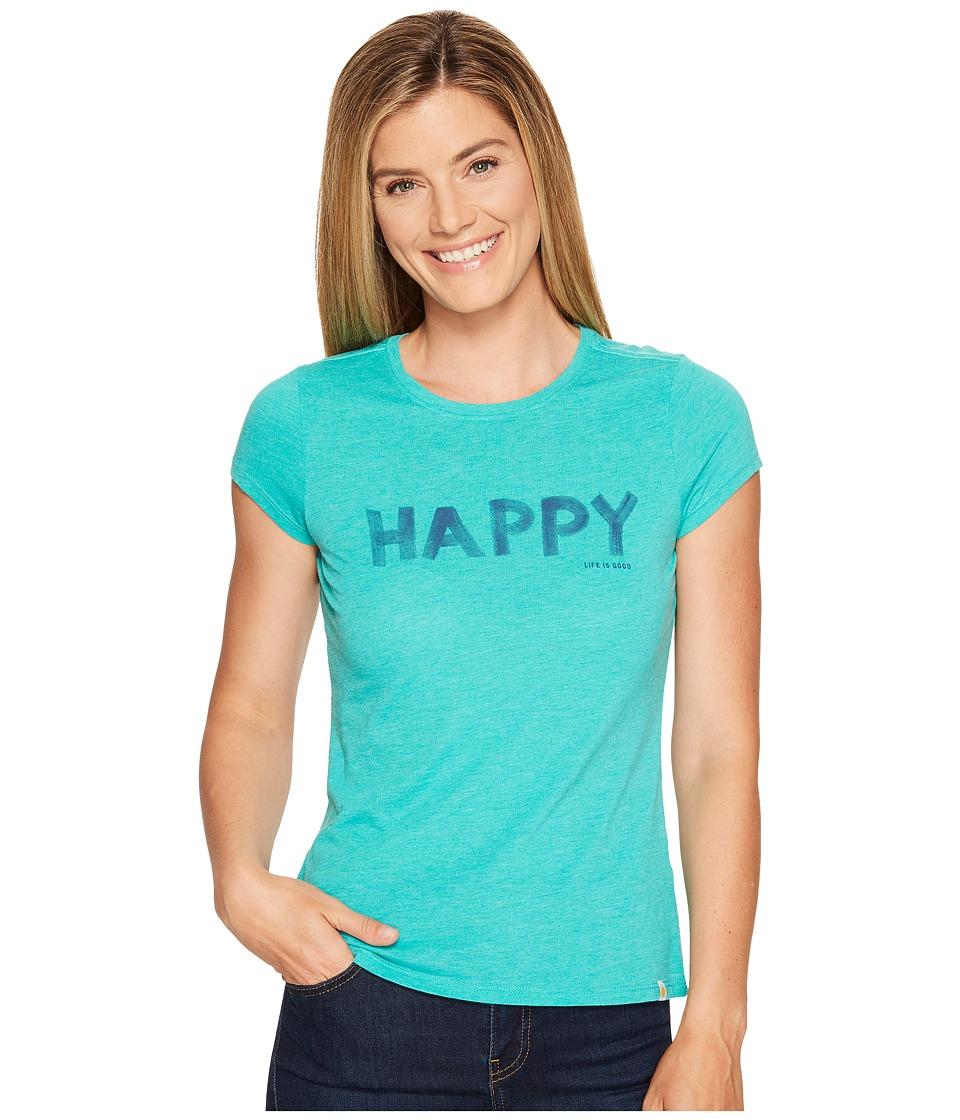 Life is Good Happy Sweet Tee (Bright Teal) Women