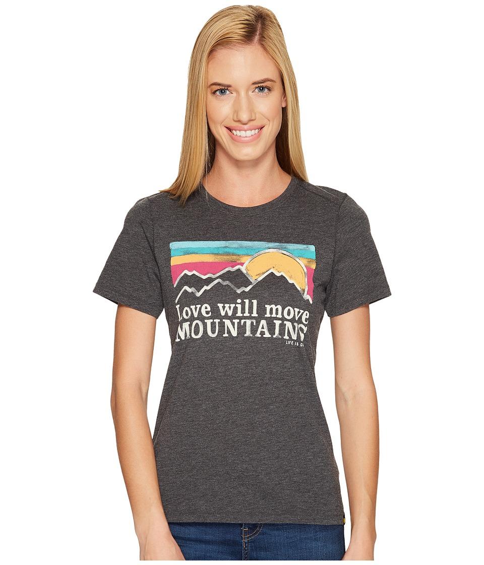 Life is Good Mountains Sunset Stripe Cool Tee (Night Black) Women