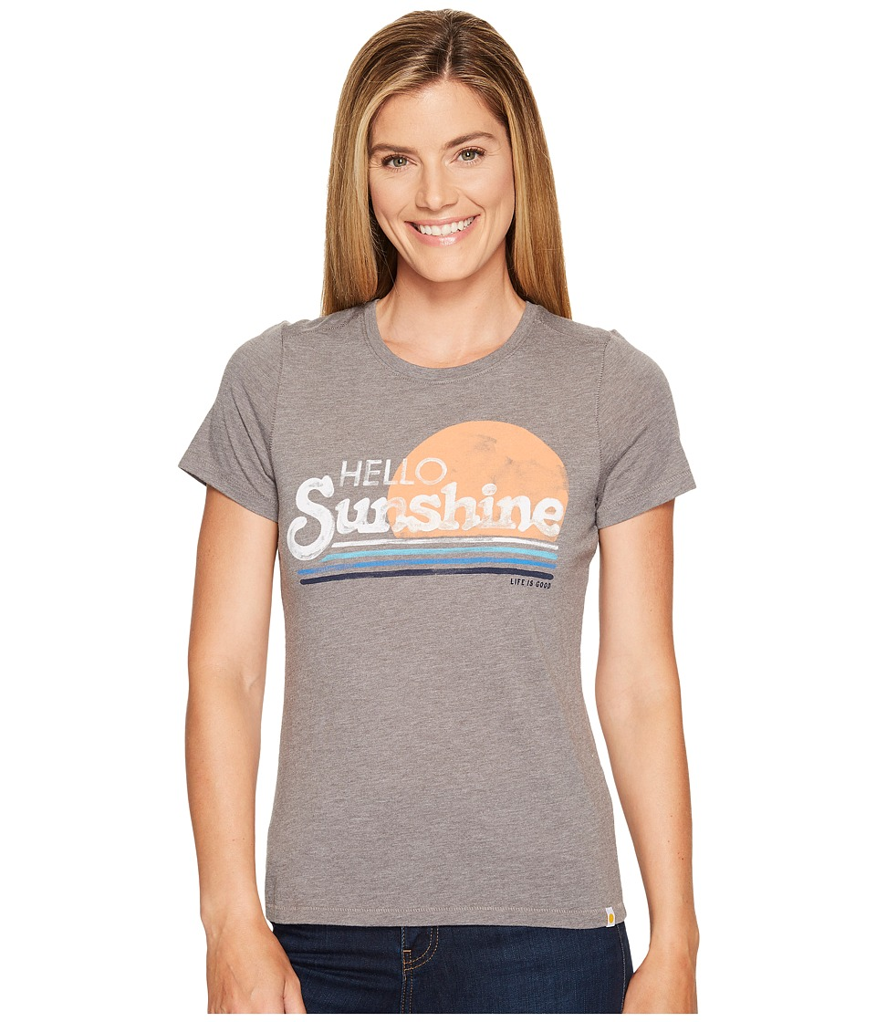 Life is Good Hello Sunshine Stripe Cool Tee (Slate Gray) Women