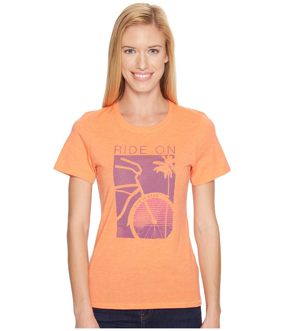 Life is Good Ride On Bike Cool Tee (Tropical Orange) Women