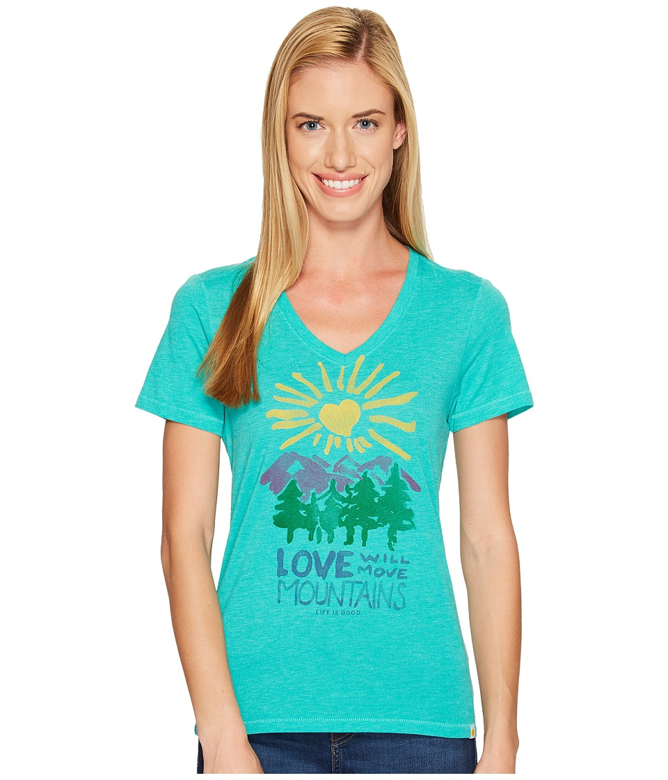 Life is Good Mountains Cool Vee (Bright Teal) Women