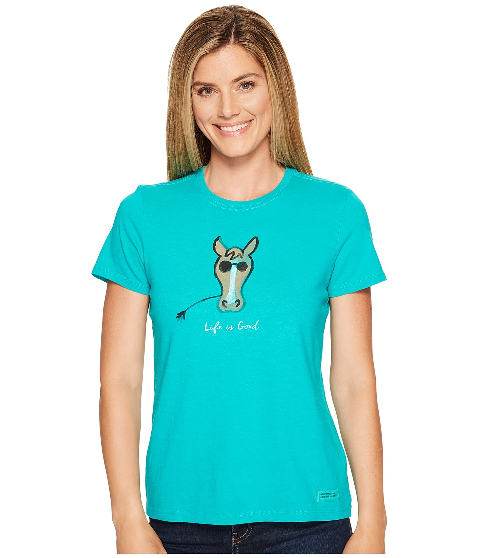 Life is Good Cool Horse Crusher Tee (Bright Teal) Women