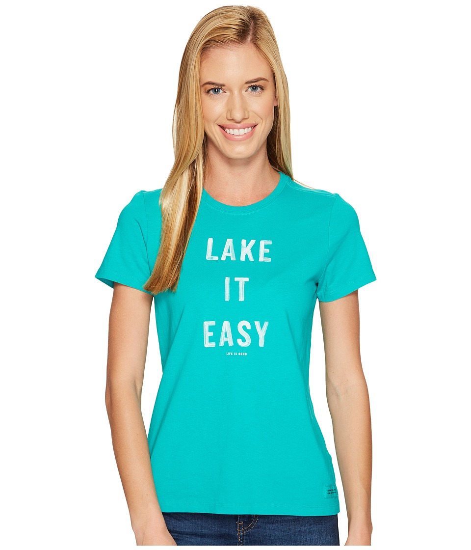 Life is Good Lake It Easy Crusher Tee (Bright Teal) Women