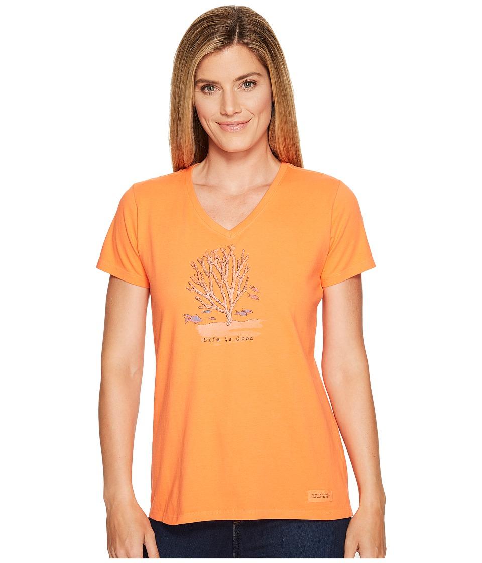 Life is Good Coral Crusher Vee (Tropical Orange) Women